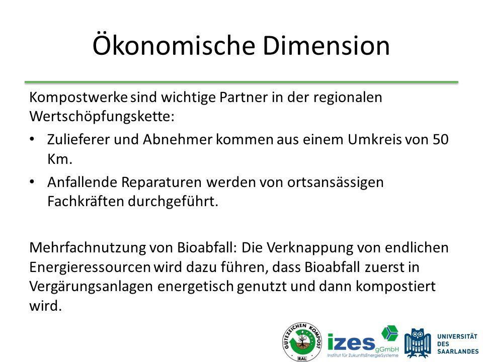 Ökonomische Dimension Kompostwerke sind wichtige Partner in der regionalen Wertschöpfungskette: Zulieferer und Abnehmer kommen aus einem Umkreis von 50 Km.