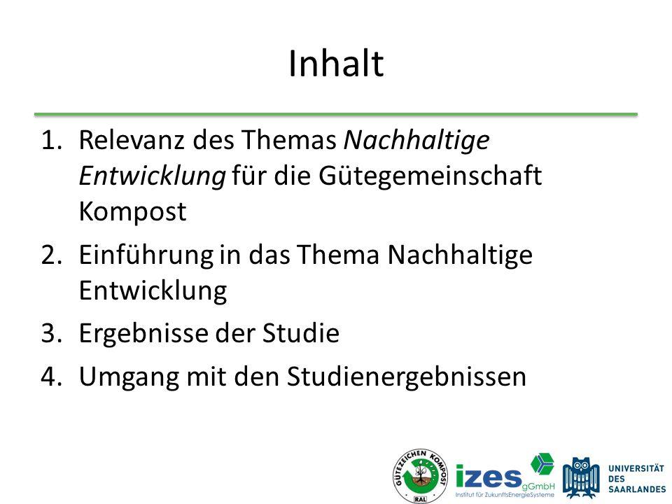 Inhalt 1.Relevanz des Themas Nachhaltige Entwicklung für die Gütegemeinschaft Kompost 2.Einführung in das Thema Nachhaltige Entwicklung 3.Ergebnisse der Studie 4.Umgang mit den Studienergebnissen