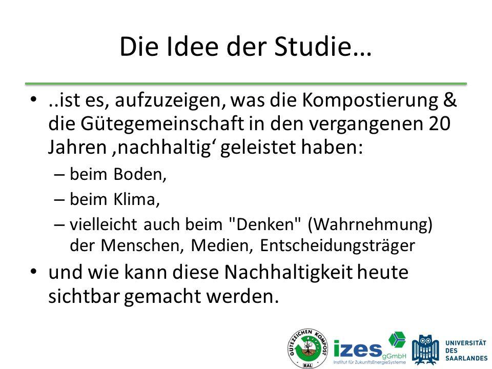 Die Idee der Studie…..ist es, aufzuzeigen, was die Kompostierung & die Gütegemeinschaft in den vergangenen 20 Jahren 'nachhaltig' geleistet haben: – b