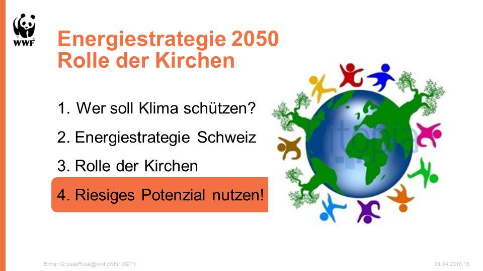 Energiestrategie 2050 Rolle der Kirchen Elmar.GrosseRuse@wwf.ch für KGTV01.04.201615 1.Wer soll Klima schützen.