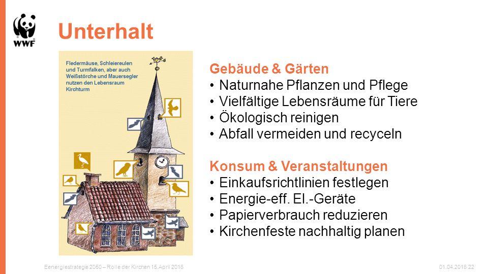 Unterhalt Gebäude & Gärten Naturnahe Pflanzen und Pflege Vielfältige Lebensräume für Tiere Ökologisch reinigen Abfall vermeiden und recyceln Konsum & Veranstaltungen Einkaufsrichtlinien festlegen Energie-eff.