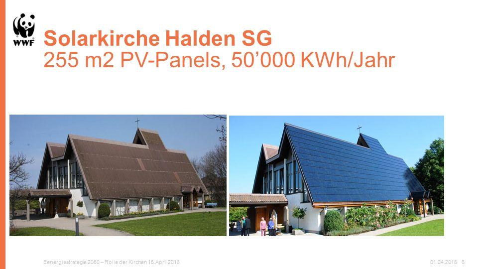 Solarkirche Halden SG 255 m2 PV-Panels, 50'000 KWh/Jahr Eenergiestrategie 2050 – Rolle der Kirchen 15.April 201601.04.20166