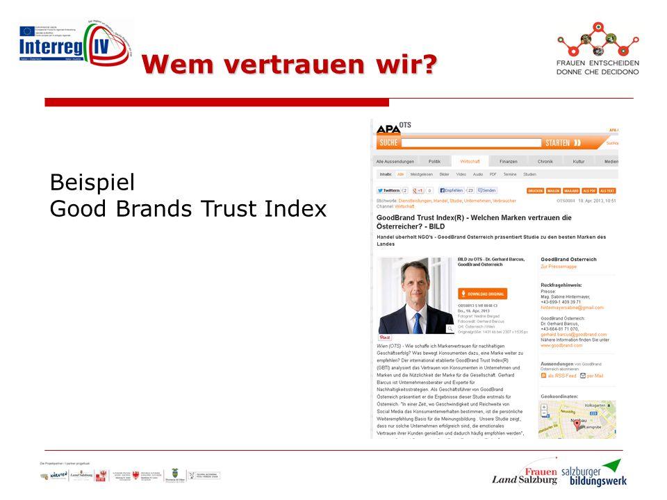 Wem vertrauen wir Beispiel Good Brands Trust Index