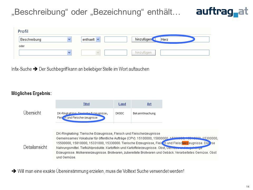 """14 """"Beschreibung oder """"Bezeichnung enthält… Infix-Suche  Der Suchbegriff kann an beliebiger Stelle im Wort auftauchen Mögliches Ergebnis: Übersicht Detailansicht  Will man eine exakte Übereinstimmung erzielen, muss die Volltext Suche verwendet werden!"""