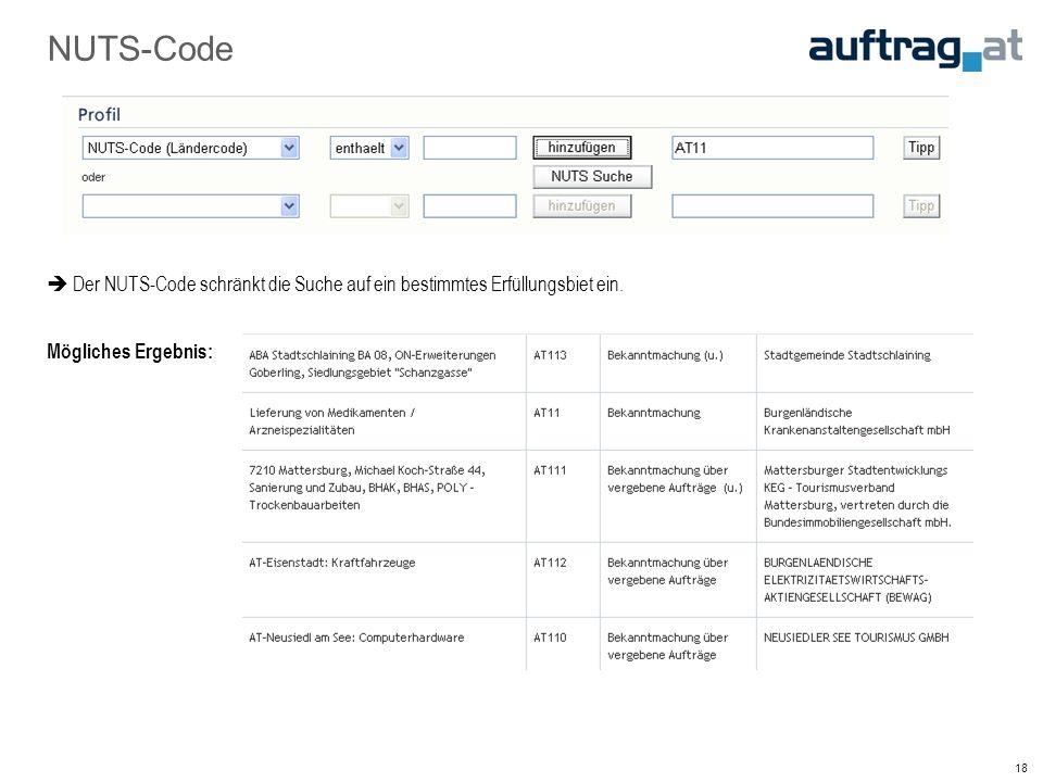 18 NUTS-Code  Der NUTS-Code schränkt die Suche auf ein bestimmtes Erfüllungsbiet ein.