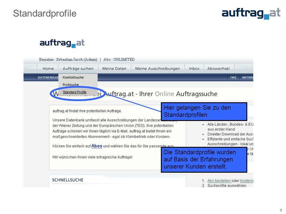 4 Standardprofil auswählen Die Standardprofile sind alphabetisch sortiert.