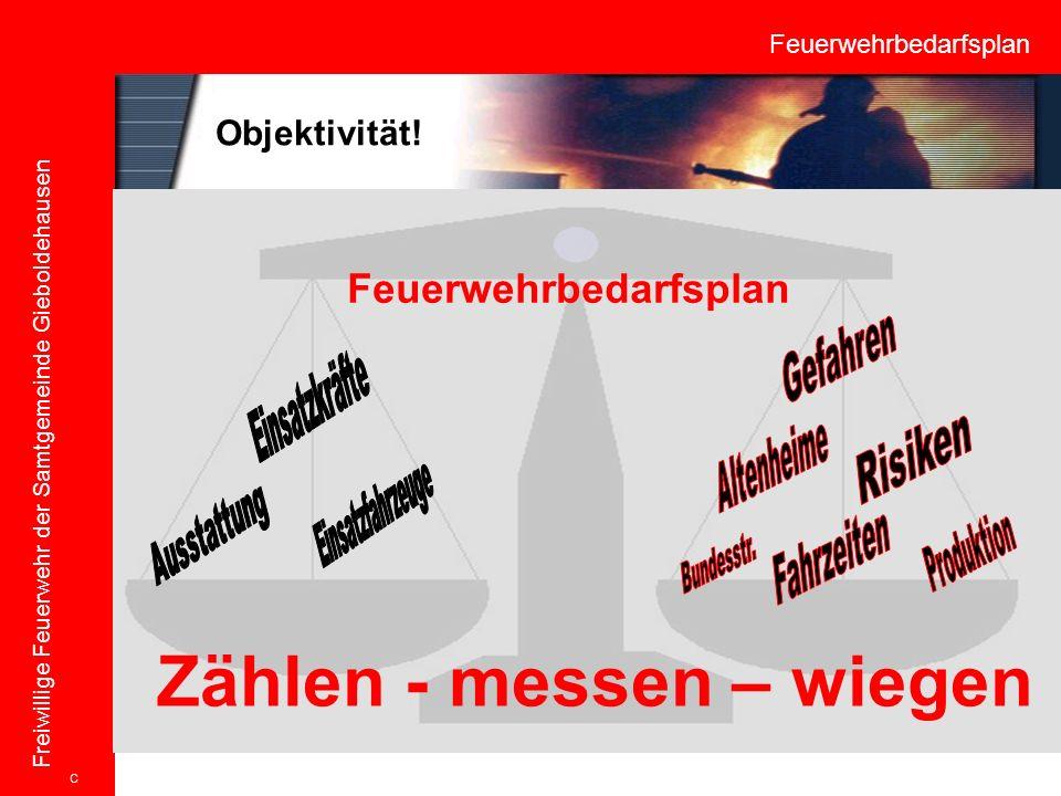 Feuerwehrbedarfsplan Freiwillige Feuerwehr der Samtgemeinde Gieboldehausen Zählen - messen – wiegen Feuerwehrbedarfsplan C Objektivität!