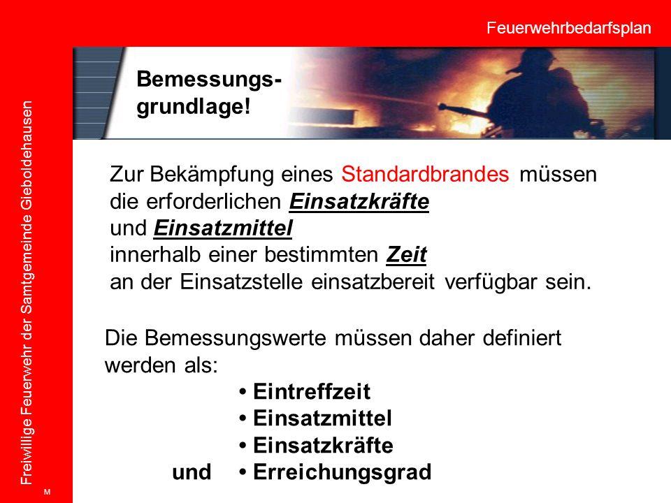 Feuerwehrbedarfsplan Freiwillige Feuerwehr der Samtgemeinde Gieboldehausen Zur Bekämpfung eines Standardbrandes müssen die erforderlichen Einsatzkräft
