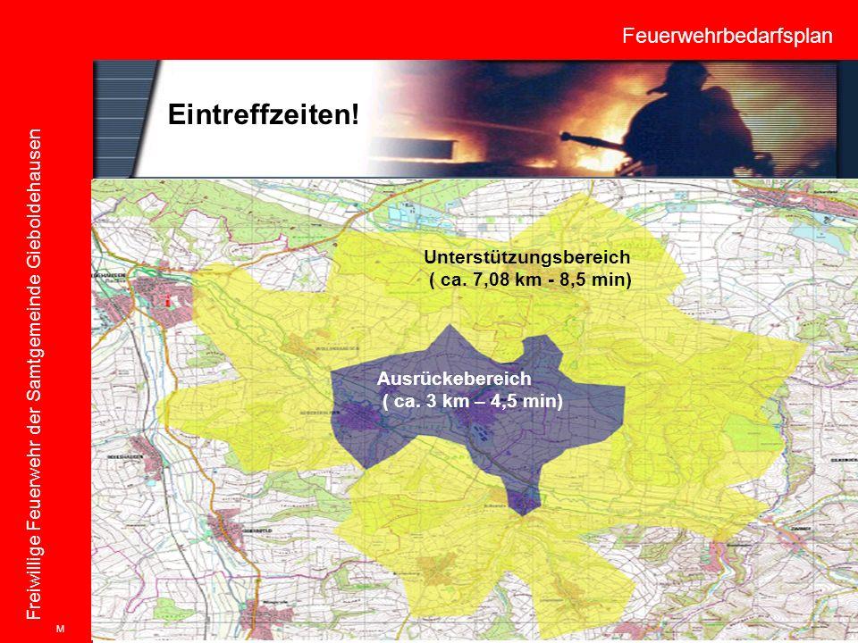 Feuerwehrbedarfsplan Freiwillige Feuerwehr der Samtgemeinde Gieboldehausen Ausrückebereich ( ca. 3 km – 4,5 min) Unterstützungsbereich ( ca. 7,08 km -
