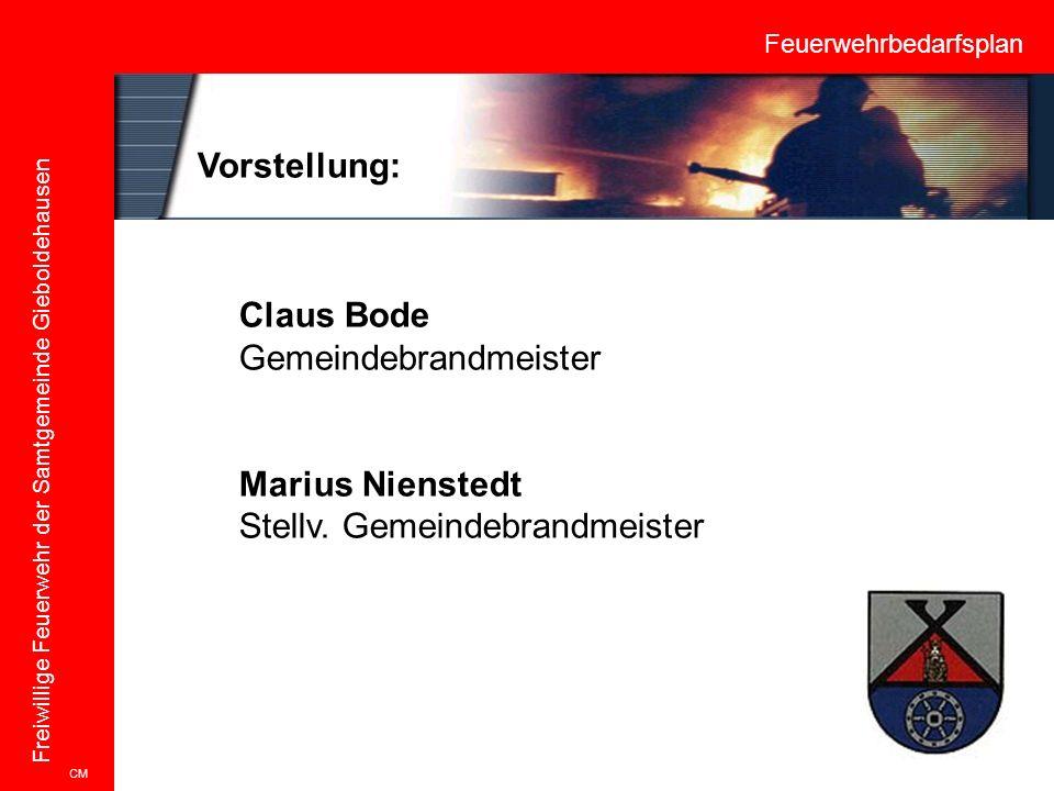 Feuerwehrbedarfsplan Freiwillige Feuerwehr der Samtgemeinde Gieboldehausen Vorstellung: CM Claus Bode Gemeindebrandmeister Marius Nienstedt Stellv. Ge