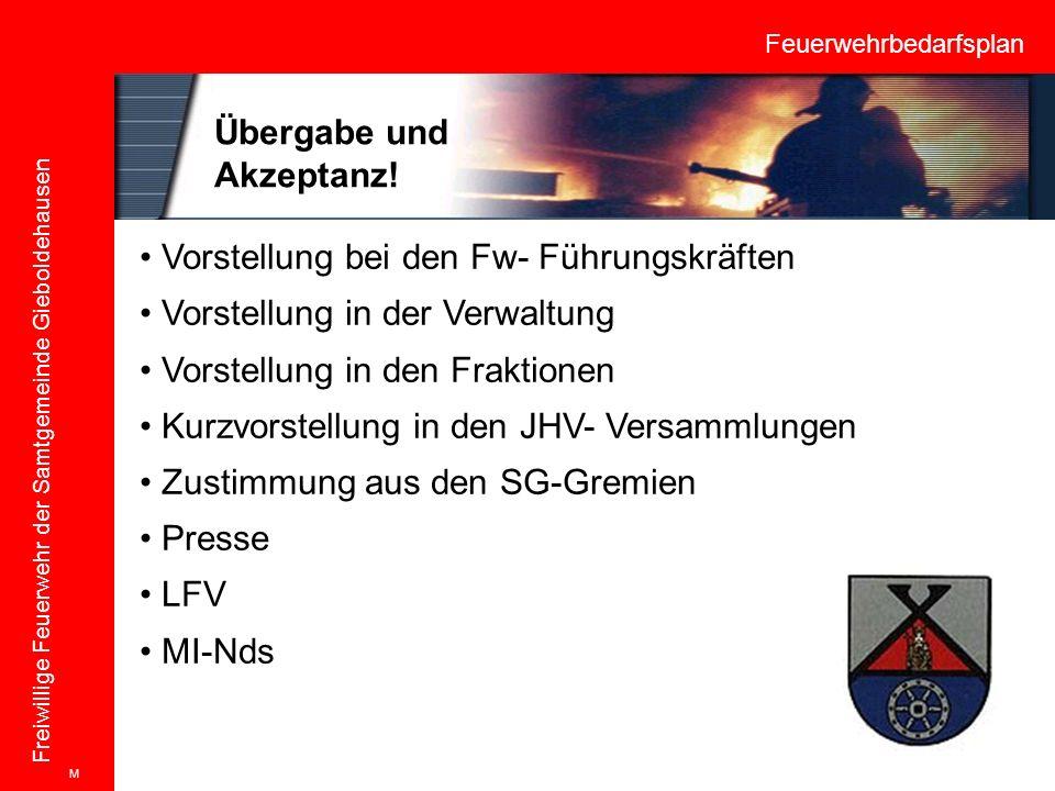Feuerwehrbedarfsplan Freiwillige Feuerwehr der Samtgemeinde Gieboldehausen Vorstellung bei den Fw- Führungskräften Vorstellung in der Verwaltung Vorst