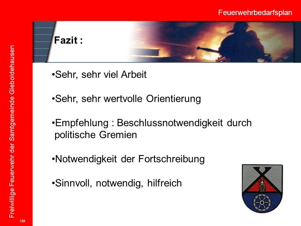 Feuerwehrbedarfsplan Freiwillige Feuerwehr der Samtgemeinde Gieboldehausen CM Fazit : Sehr, sehr viel Arbeit Sehr, sehr wertvolle Orientierung Empfehl