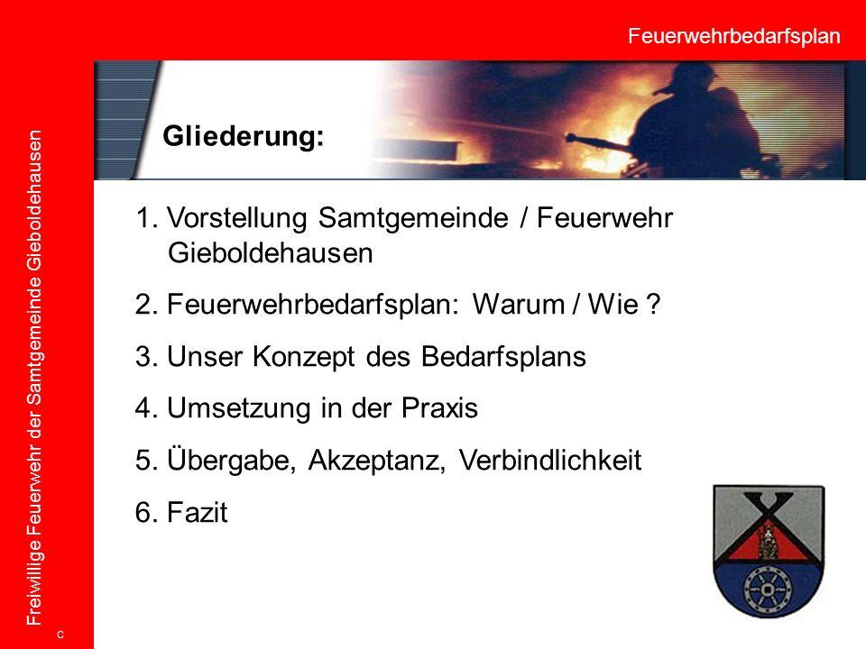 Feuerwehrbedarfsplan Freiwillige Feuerwehr der Samtgemeinde Gieboldehausen 1. Vorstellung Samtgemeinde / Feuerwehr Gieboldehausen 2. Feuerwehrbedarfsp