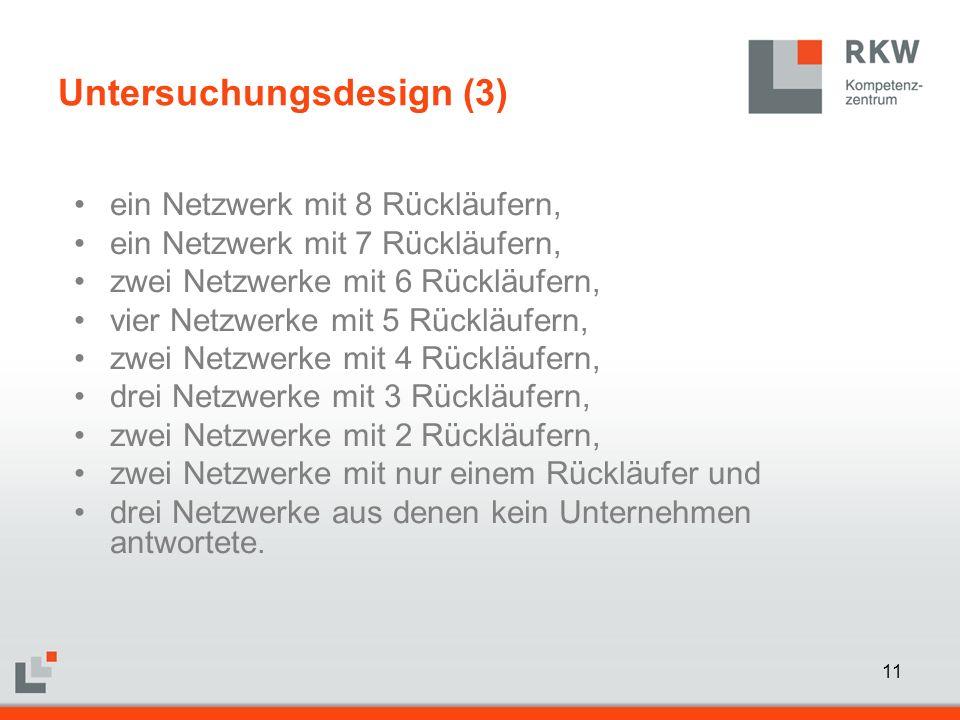 11 ein Netzwerk mit 8 Rückläufern, ein Netzwerk mit 7 Rückläufern, zwei Netzwerke mit 6 Rückläufern, vier Netzwerke mit 5 Rückläufern, zwei Netzwerke