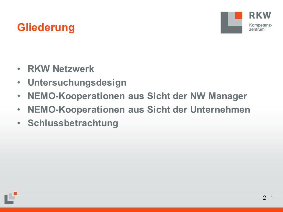 13 Gliederung RKW Netzwerk Untersuchungsdesign NEMO Kooperationen aus Sicht der NW-Manager NEMO Kooperationen aus Sicht der Unternehmen Schlussbetrachtung 13