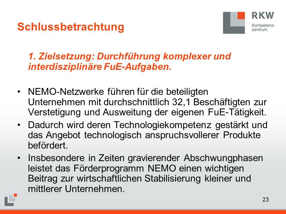 23 Schlussbetrachtung 1. Zielsetzung: Durchführung komplexer und interdisziplinäre FuE-Aufgaben. NEMO-Netzwerke führen für die beteiligten Unternehmen