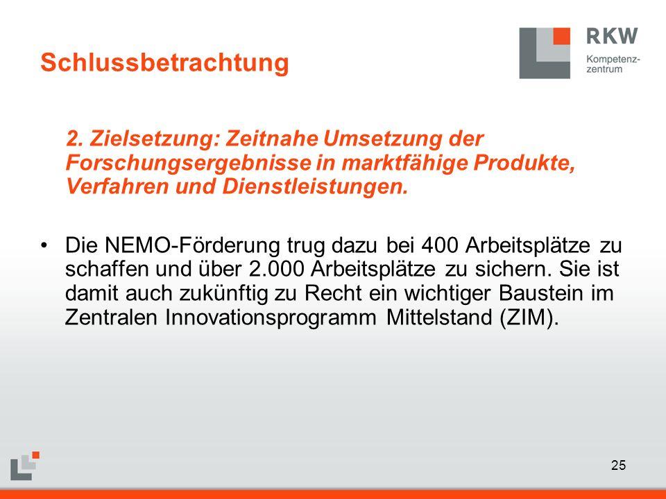 25 Schlussbetrachtung 2. Zielsetzung: Zeitnahe Umsetzung der Forschungsergebnisse in marktfähige Produkte, Verfahren und Dienstleistungen. Die NEMO-Fö