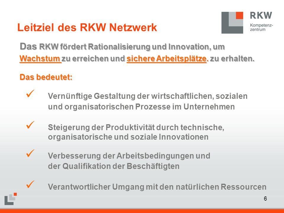 7 Das RKW Das RKW  bietet den einzelnen Unternehmen Unterstützung vor Ort durch die RKW Landesorganisationen  entwickelt wirtschaftsnahe Lösungen für heutige und künftige Herausforderungen durch das RKW Kompetenzzentrum  arbeitet zusammen mit Ministerien, Hochschulen und Experten  entwickelt Lösungen zusammen mit den Sozialpartnern RKW Kompetenz für den Mittelstand