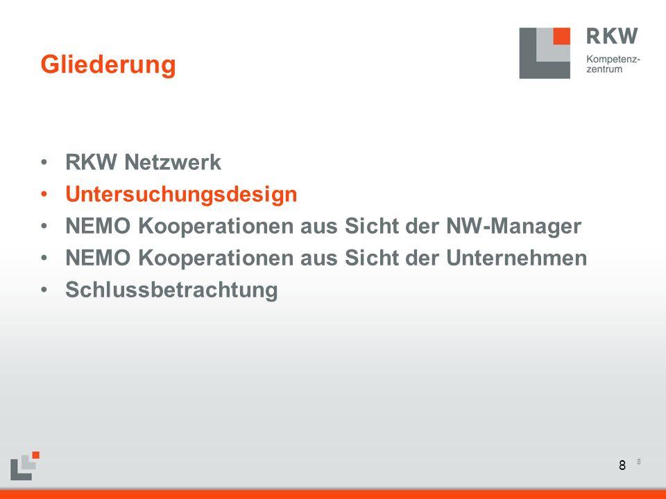 8 Gliederung RKW Netzwerk Untersuchungsdesign NEMO Kooperationen aus Sicht der NW-Manager NEMO Kooperationen aus Sicht der Unternehmen Schlussbetracht