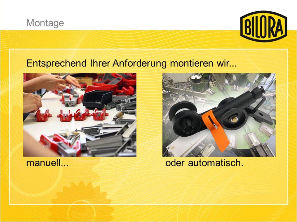 Montage Entsprechend Ihrer Anforderung montieren wir... manuell... oder automatisch.