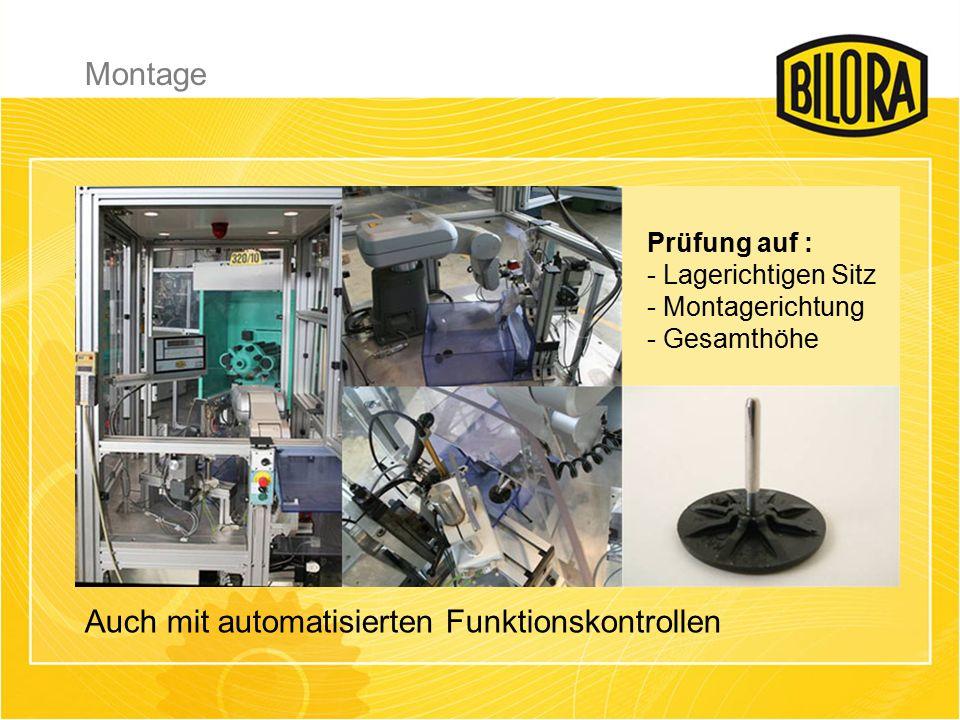 Montage Auch mit automatisierten Funktionskontrollen Prüfung auf : - Lagerichtigen Sitz - Montagerichtung - Gesamthöhe