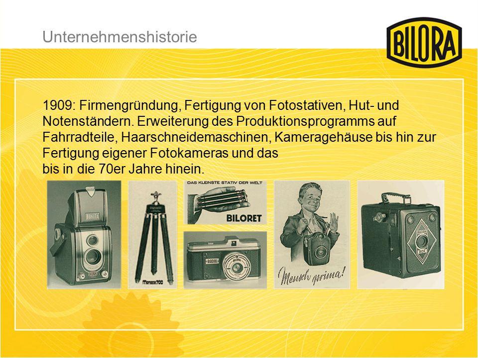Unternehmenshistorie 1909: Firmengründung, Fertigung von Fotostativen, Hut- und Notenständern.