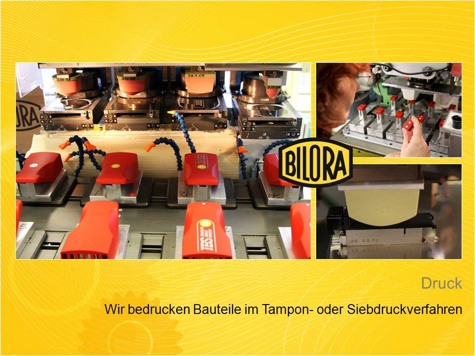Druck Wir bedrucken Bauteile im Tampon- oder Siebdruckverfahren
