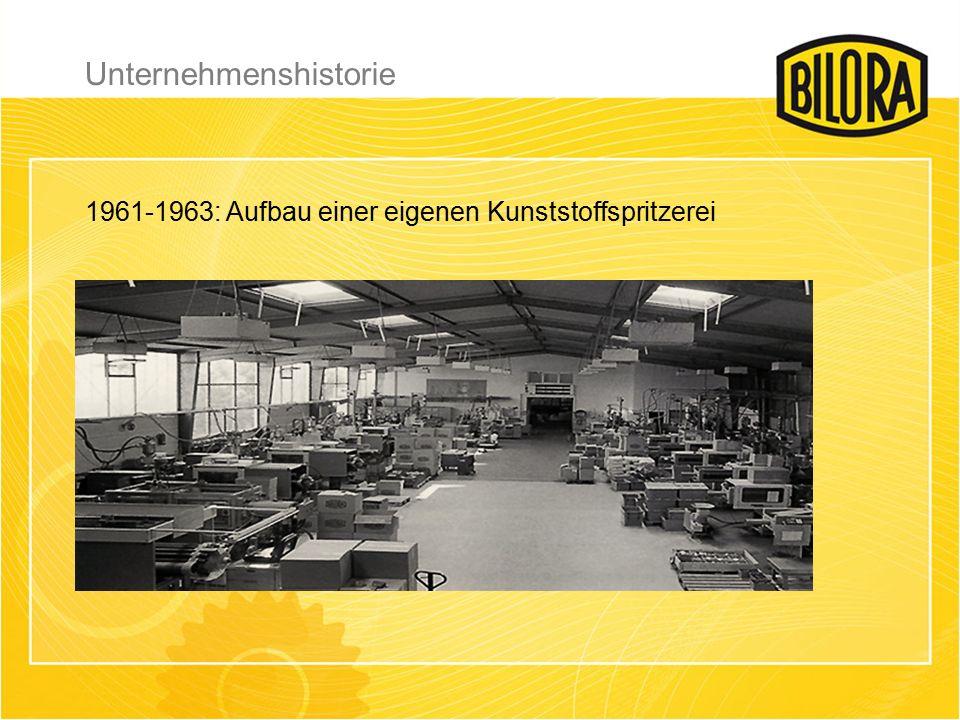 1965: Ausbau der Kunststoffspritzerei auf 6 Maschinen, externe Betriebe werden auf die Kompetenz von BILORA aufmerksam.