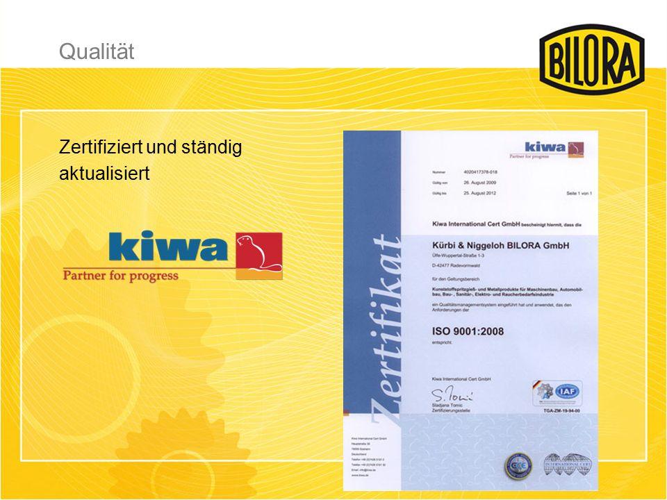 Zertifiziert und ständig aktualisiert Qualität
