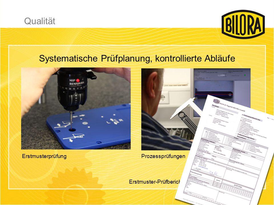ErstmusterprüfungProzessprüfungen Systematische Prüfplanung, kontrollierte Abläufe Erstmuster-Prüfbericht Qualität