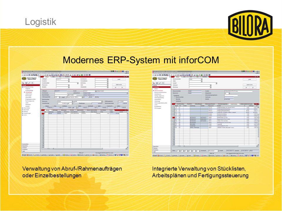 Verwaltung von Abruf-/Rahmenaufträgen oder Einzelbestellungen Integrierte Verwaltung von Stücklisten, Arbeitsplänen und Fertigungssteuerung Modernes ERP-System mit inforCOM Logistik