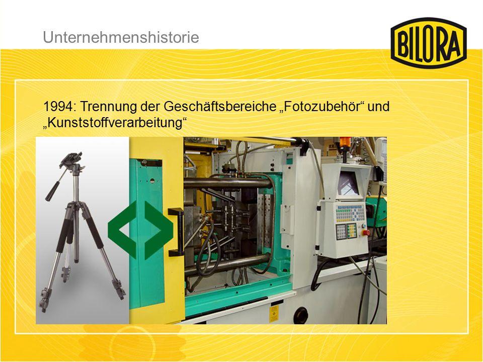 """1994: Trennung der Geschäftsbereiche """"Fotozubehör und """"Kunststoffverarbeitung Unternehmenshistorie"""