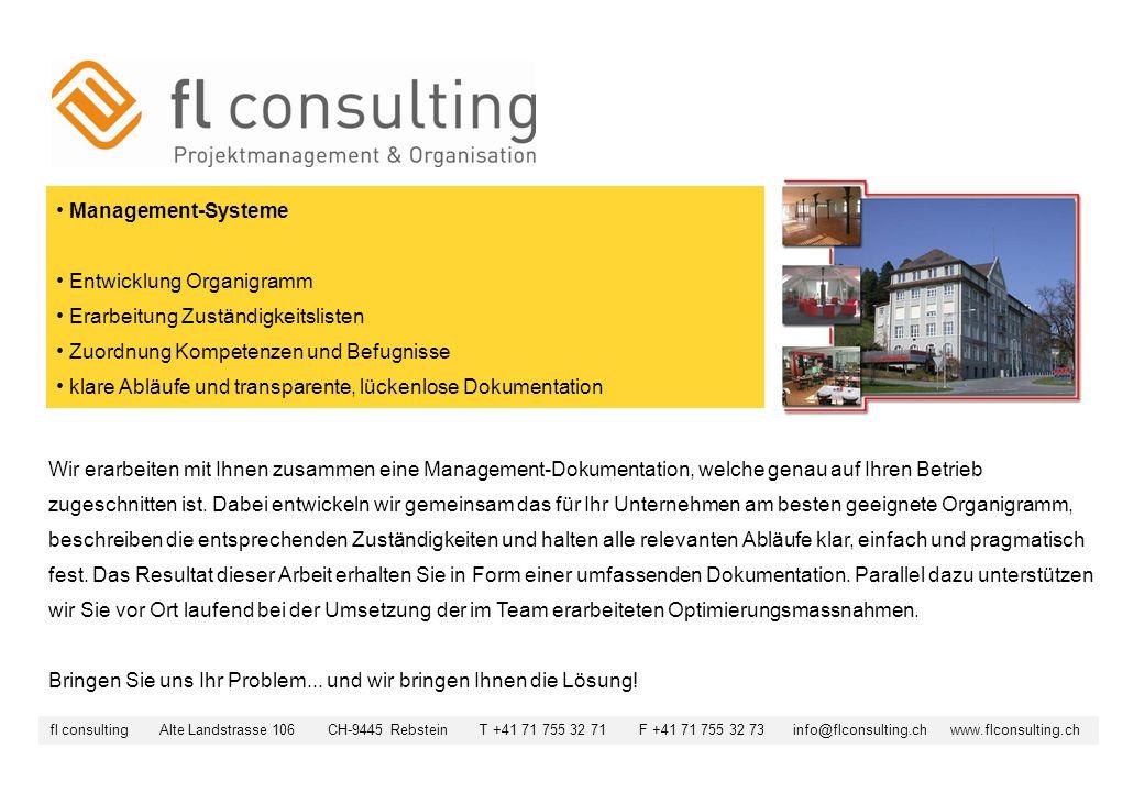 Management-Systeme Entwicklung Organigramm Erarbeitung Zuständigkeitslisten Zuordnung Kompetenzen und Befugnisse klare Abläufe und transparente, lücke