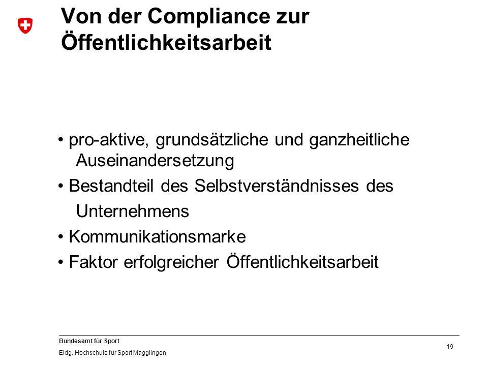 19 Bundesamt für Sport Eidg. Hochschule für Sport Magglingen Von der Compliance zur Öffentlichkeitsarbeit pro-aktive, grundsätzliche und ganzheitliche