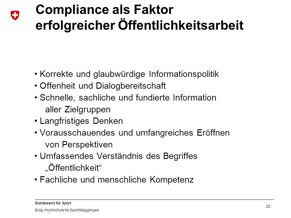 20 Bundesamt für Sport Eidg.