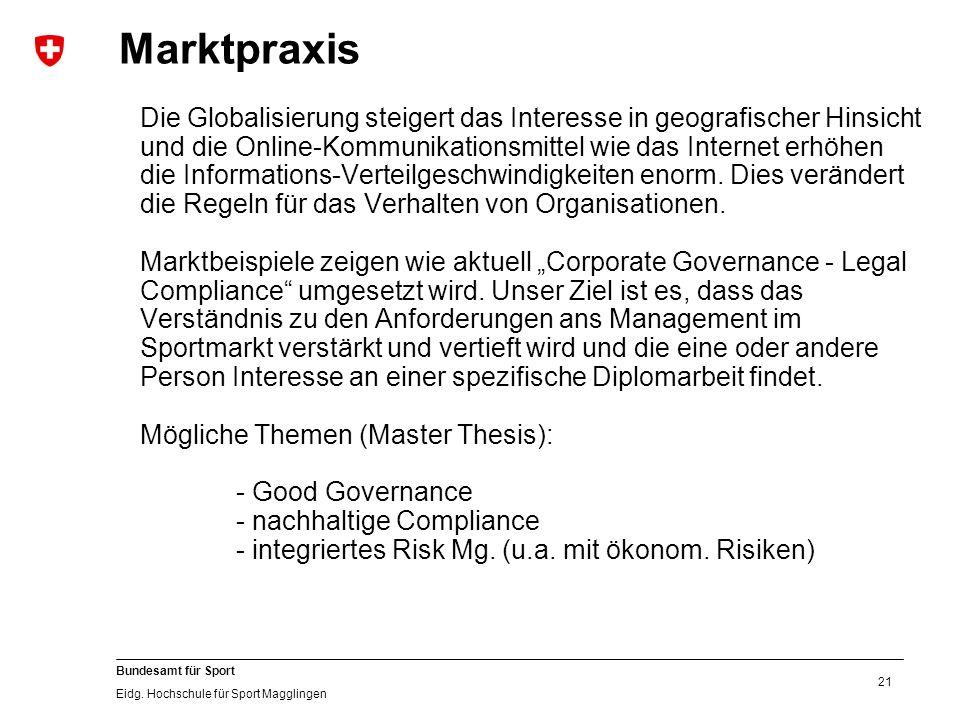 21 Bundesamt für Sport Eidg.