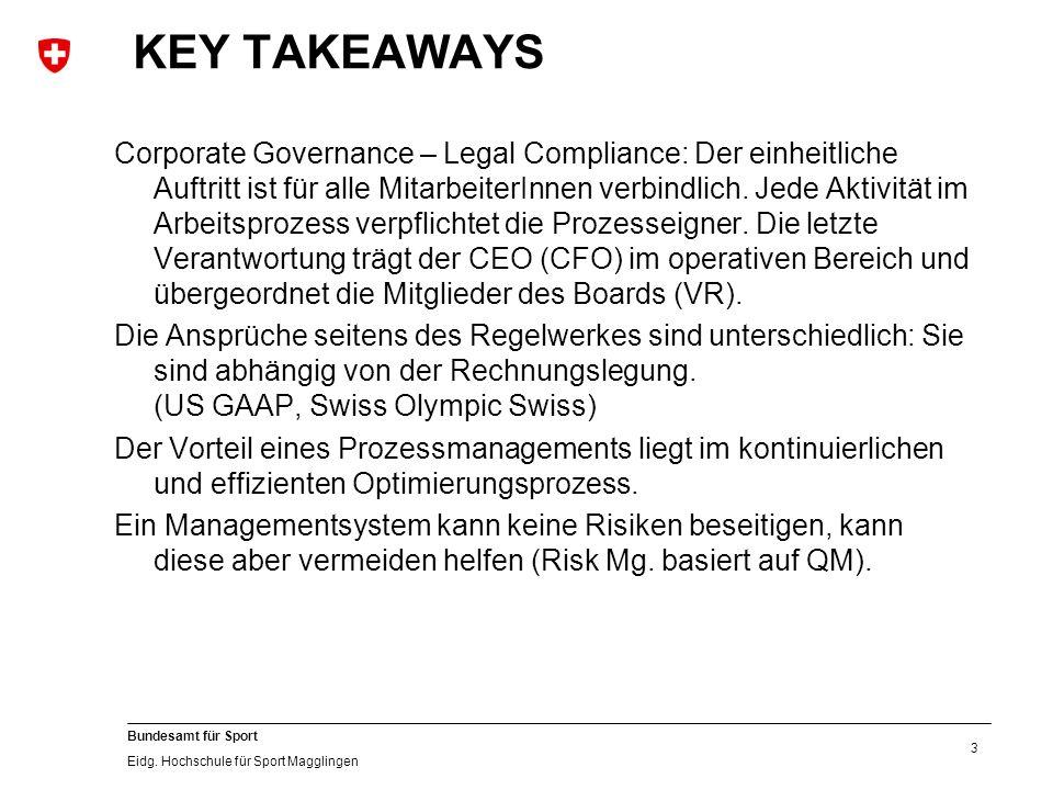 3 Bundesamt für Sport Eidg. Hochschule für Sport Magglingen KEY TAKEAWAYS Corporate Governance – Legal Compliance: Der einheitliche Auftritt ist für a