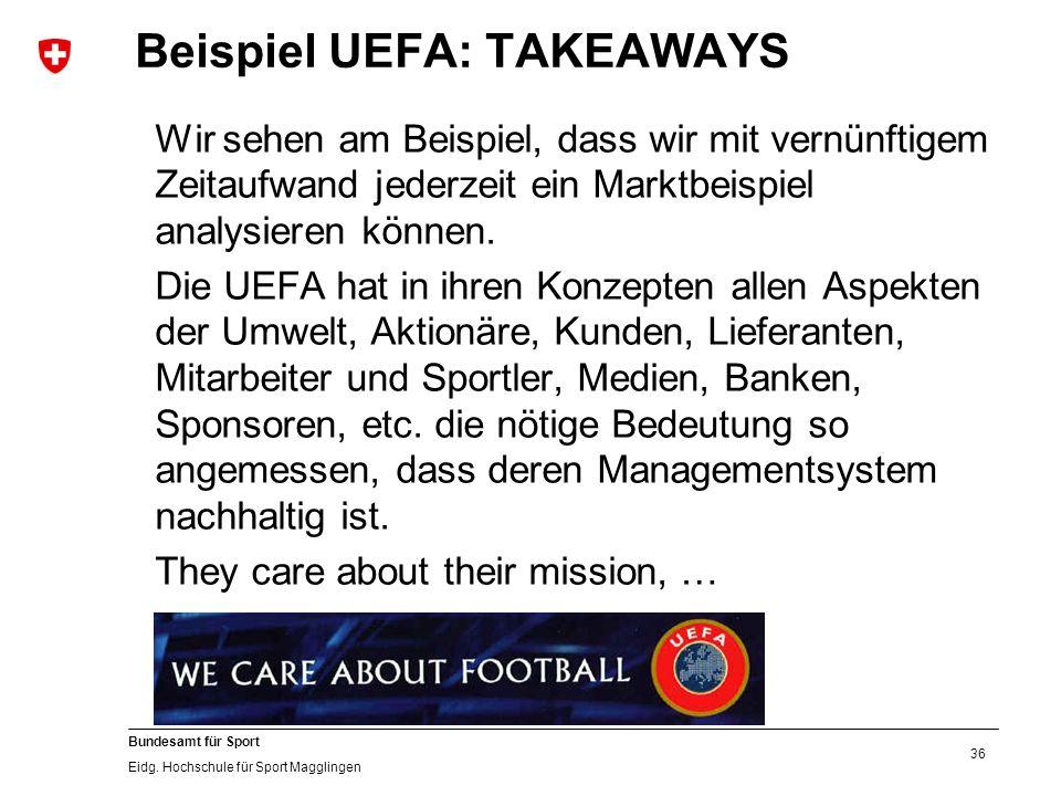36 Bundesamt für Sport Eidg. Hochschule für Sport Magglingen Beispiel UEFA: TAKEAWAYS Wir sehen am Beispiel, dass wir mit vernünftigem Zeitaufwand jed