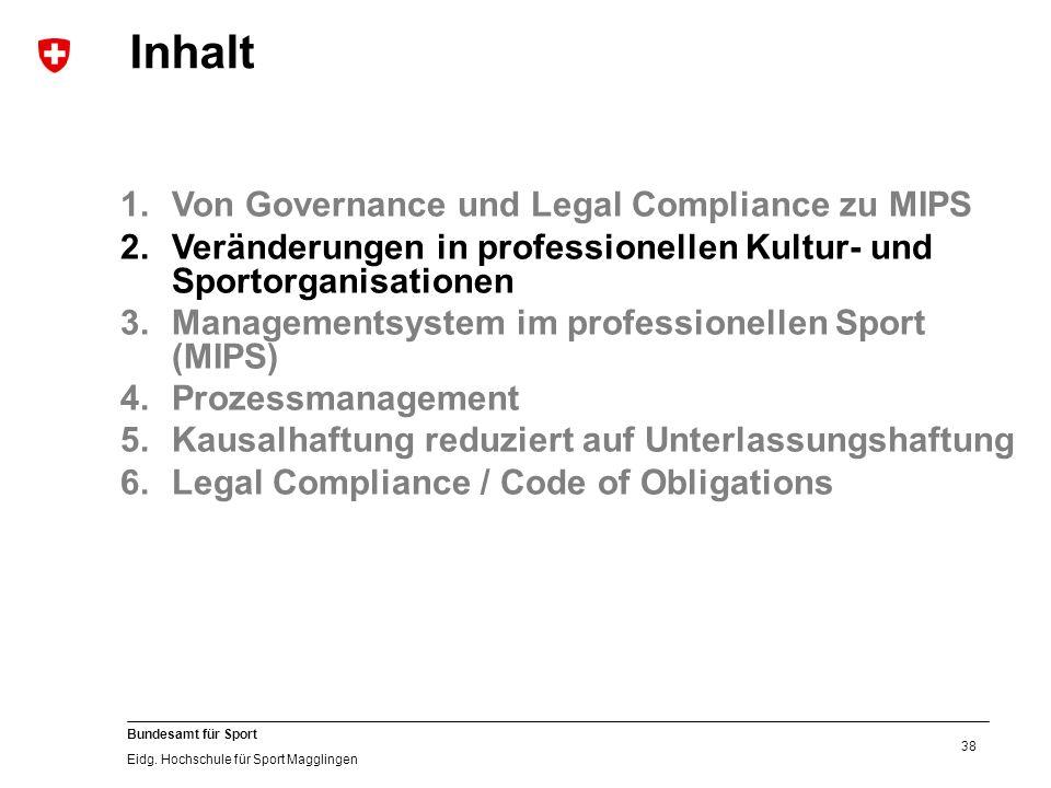 38 Bundesamt für Sport Eidg. Hochschule für Sport Magglingen 1.Von Governance und Legal Compliance zu MIPS 2.Veränderungen in professionellen Kultur-