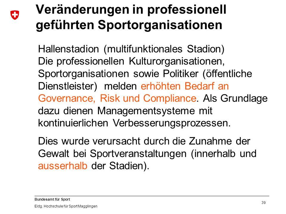 39 Bundesamt für Sport Eidg. Hochschule für Sport Magglingen Hallenstadion (multifunktionales Stadion) Die professionellen Kulturorganisationen, Sport