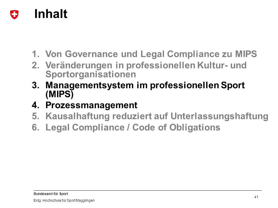 41 Bundesamt für Sport Eidg. Hochschule für Sport Magglingen 1.Von Governance und Legal Compliance zu MIPS 2.Veränderungen in professionellen Kultur-