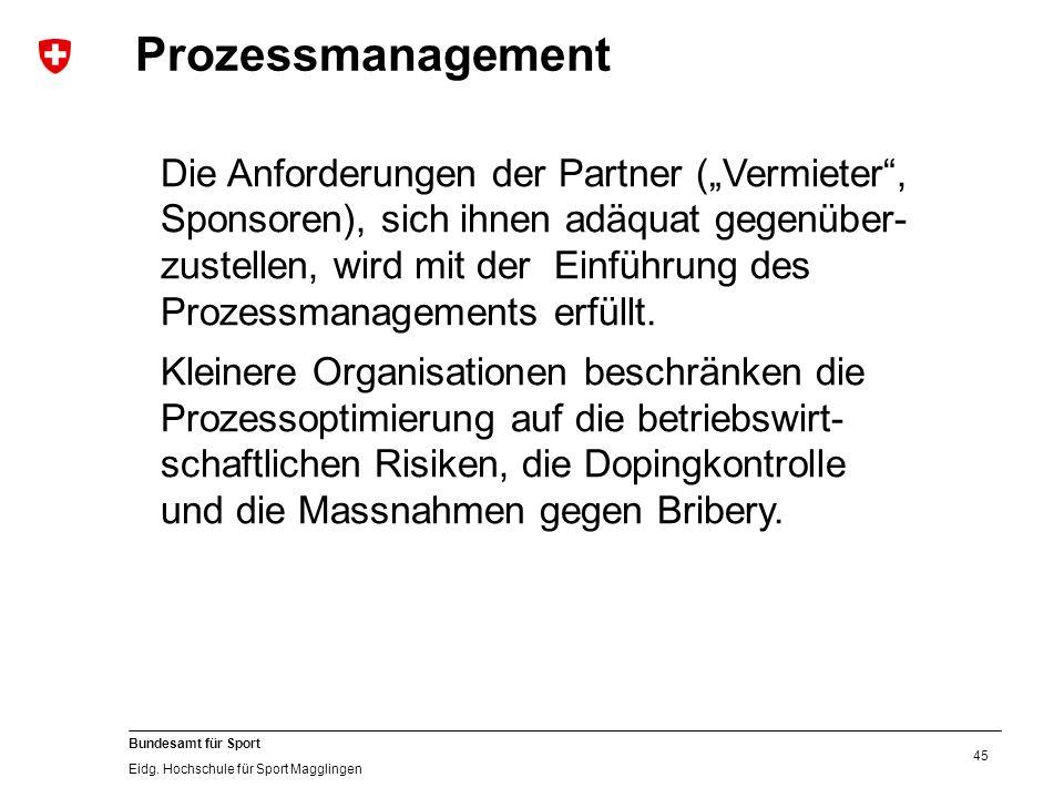 """45 Bundesamt für Sport Eidg. Hochschule für Sport Magglingen Prozessmanagement Die Anforderungen der Partner (""""Vermieter"""", Sponsoren), sich ihnen adäq"""