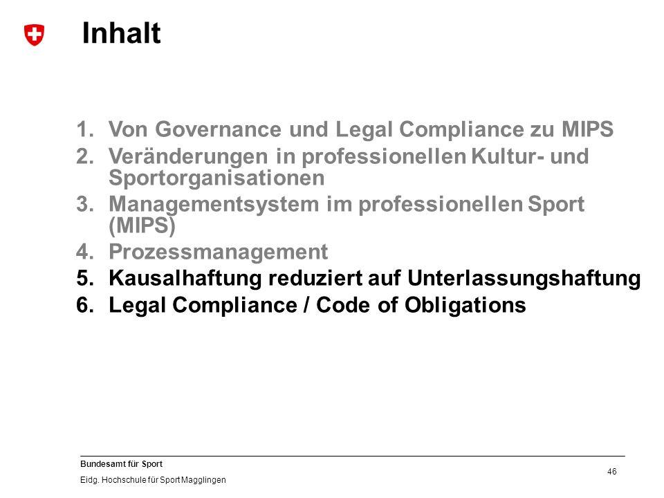 46 Bundesamt für Sport Eidg. Hochschule für Sport Magglingen 1.Von Governance und Legal Compliance zu MIPS 2.Veränderungen in professionellen Kultur-