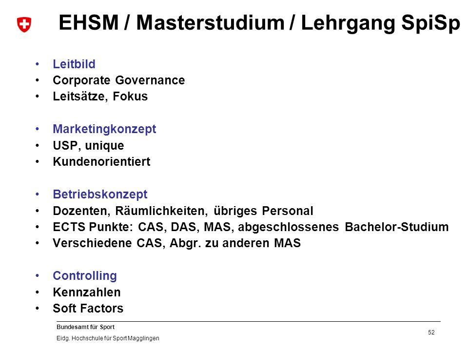 52 Bundesamt für Sport Eidg. Hochschule für Sport Magglingen EHSM / Masterstudium / Lehrgang SpiSp Leitbild Corporate Governance Leitsätze, Fokus Mark