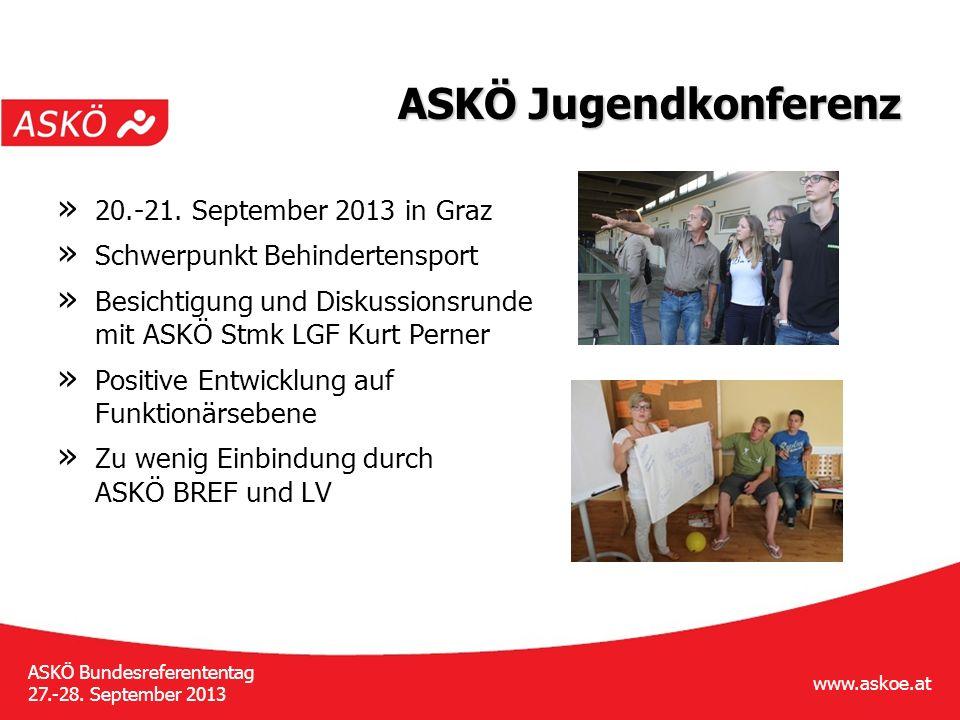 www.askoe.at ASKÖ Bundesreferententag 27.-28. September 2013 ASKÖ Jugendkonferenz » 20.-21.