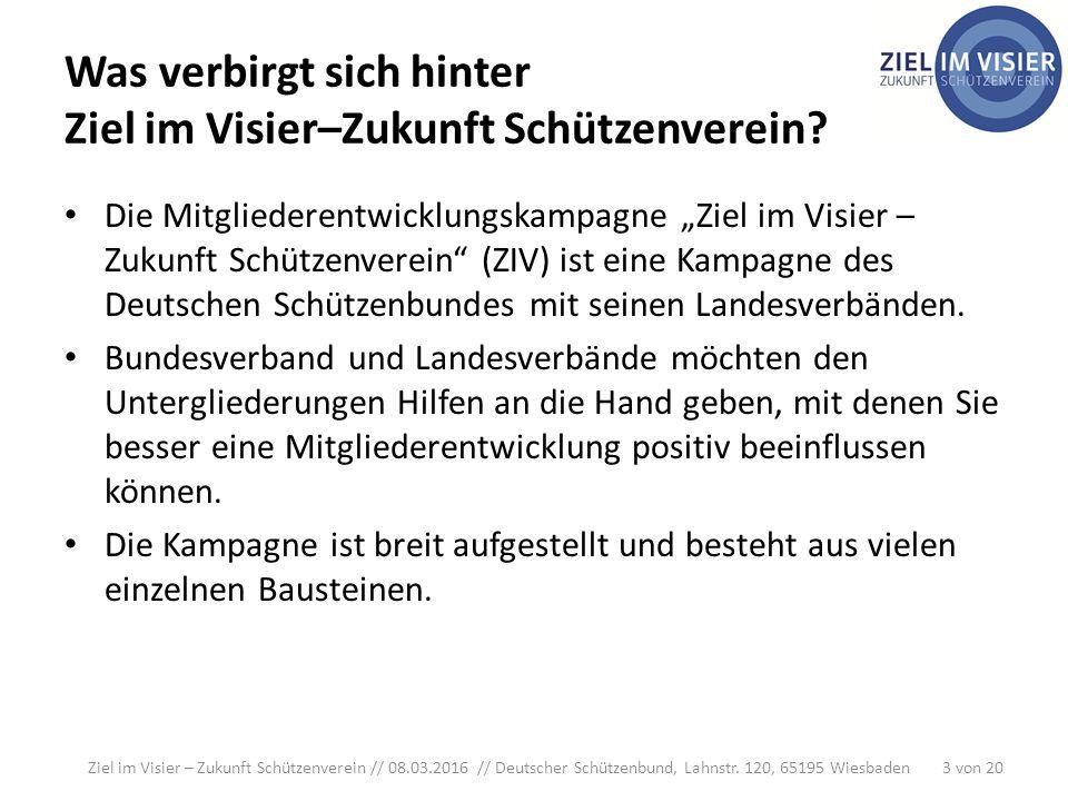 Was verbirgt sich hinter Ziel im Visier–Zukunft Schützenverein.