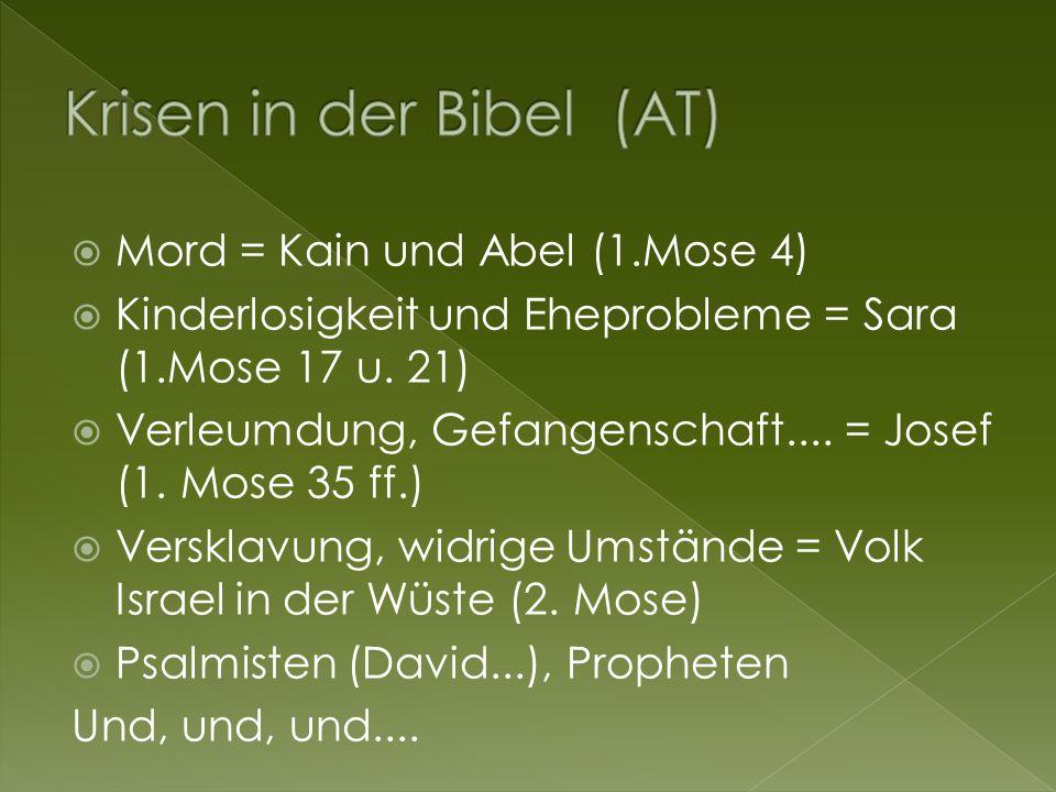  Mord = Kain und Abel (1.Mose 4)  Kinderlosigkeit und Eheprobleme = Sara (1.Mose 17 u.