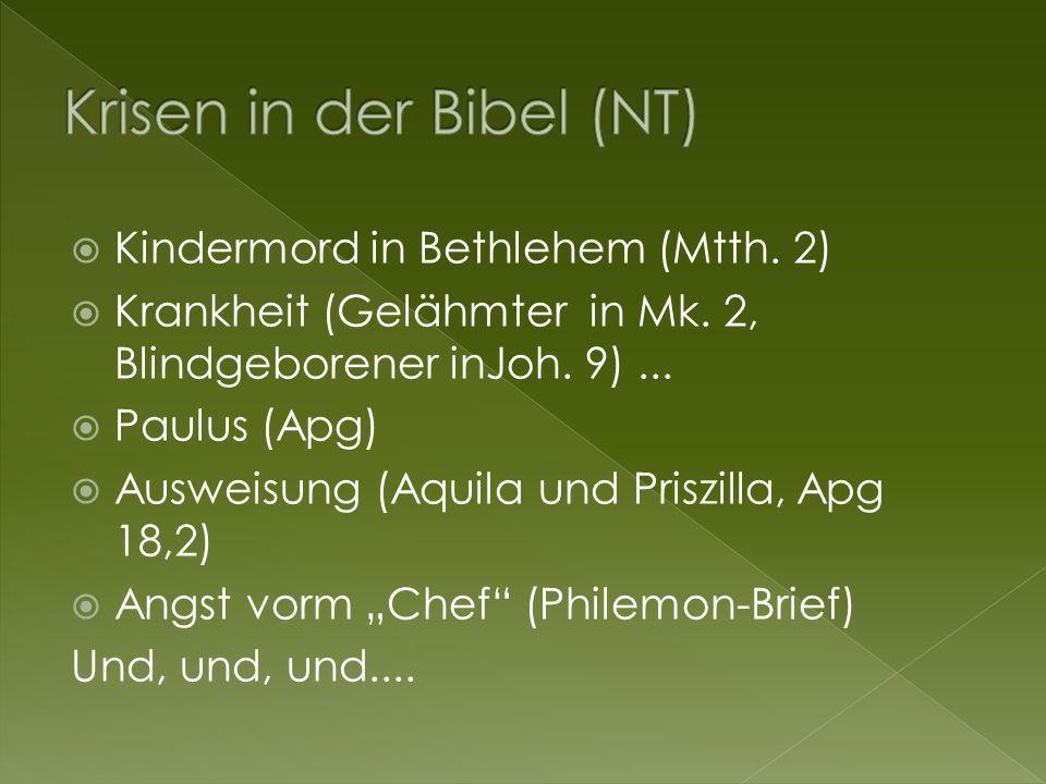 Kindermord in Bethlehem (Mtth. 2)  Krankheit (Gelähmter in Mk.