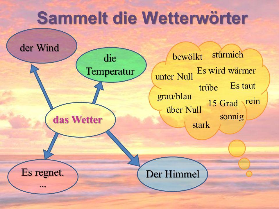bewölkt unter Null grau/blau der Wind stürmich sonnig über Null rein trübe das Wetter Der Himmel die Temperatur Es regnet. … stark Es wird wärmer Es t