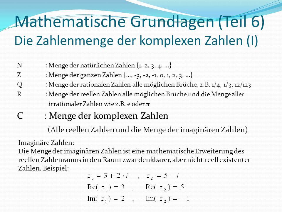 Mathematische Grundlagen (Teil 6) Die Zahlenmenge der komplexen Zahlen (I) N: Menge der natürlichen Zahlen {1, 2, 3, 4, …} Z: Menge der ganzen Zahlen {…, -3, -2, -1, 0, 1, 2, 3, …} Q: Menge der rationalen Zahlen alle möglichen Brüche, z.B.